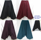 UniSex Drop Crotch Harem Baggy Striped Cotton Pants Men M-L Women XL One Sz Boho