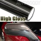 5D Premium HIGH GLOSS Black Carbon Fiber Vinyl Wrap Bubble Free Air Release фото