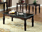 Traditional Dark Oak Cherry Walnut Faux Marble Top 3 Pc. Coffee End Table Set