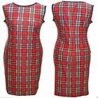 BODYCON WIGGLE PENCIL RED TARTAN DRESS  SIZE 16   ALTERNATIVE