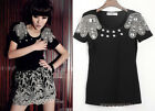 Chic Nobby Baroque  Beading Padded Shoulder Short Sleeve T Shirt Tee