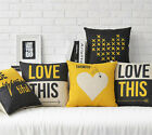 Cotton/Linen Cushion Cover Shell Throw Pillow Case yellow black love this 1 pc