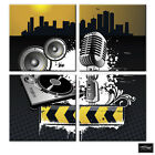 Musical Microphone Decks   BOX FRAMED CANVAS ART Picture HDR 280gsm