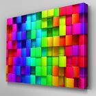 AB384 Rainbow Cubes Depth Abstract Canvas Wall Art Ready to Hang Picture Print