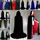 2016 Hooded Velvet Cloak Cape Medieval Costume Wedding Pagan Witch Wicca Vampire