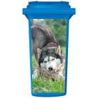 Husky Dog Chewing A Branch Wheelie Bin Sticker Panel