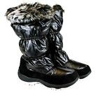 WOMENS QUILTED MID CALF PULL ON WINTER BOOTS BLACK FAUX FUR TRIM BOOTS
