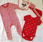 New 5 Piece Christmas My First Christmas Baby Outfit Sleepsuit Bodysuit Vest Bib