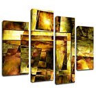 MAB547 Gold Square Mosaic Canvas Wall Art Multi Panel Split Picture Print