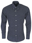 Mens Navy Blue STAR Print Shirt by Relco NEW All Sizes Long Sleeve Retro Mod