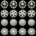 Lot of 16 Silver / Gold Pearl Crystal Flower Brooch Pin Wedding Party Bouquet