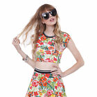 Love Tree L21996TH Junior's Bright Tropical Sporty Crop Top