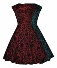 Vintage 40s 50s Flocked Embossed Baroque Flared Swing Party Prom Dress New 8-24