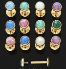 16G 8mm 14K GOLD PLATED STEEL OPAL STONE INTERNALLY THREADED MONROES CHIN LABRET