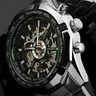 New Winner Men's Skeleton Stainless Steel Automatic Mechanical Sport Wrist Watch image