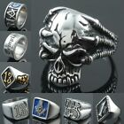 Goth Men's Cross Skull 1%er One Percent Claw Masonic Stainless Steel Band Ring