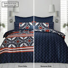 Reversible Quilt Cover Set SUZA Navy by Apartmento - SINGLE DOUBLE QUEEN KING