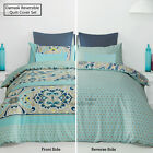 Reversible Quilt Cover Set Damask Aqua by Apartmento SINGLE DOUBLE QUEEN KING