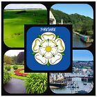 YORKSHIRE - SOUVENIR NOVELTY COASTERS - EASY CLEAN - NEW - GREAT GIFT/ XMAS