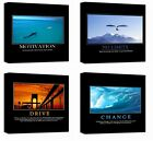 """4x Canvas Stretched Motivational Positive Quotes Inspirational Office 12"""" 24"""""""