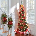 Sale 6' Pre Lit Lighted Decorated Artificial Corner Pull Up Christmas Tree