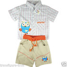 free shipping- Boys girls Giggle and Hoot summer check shirt pants  outfit sz 1-5