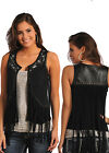 Rock & Roll Cowgirl Ladies Fancy Fringe Black Studded Vest