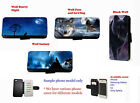 Wolf night moon sky Inspired faux leather wallet phone case for Samsung Iphone