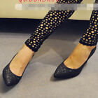 Vogue Women High Heels Shoes Pointy Toe Stiletto Pumps Shiny Leather Sequins 1kb