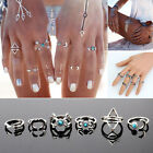 Vintage Turquoise Silver Color Finger Rings 1 Set of 6pcs Women Jewelry Rings