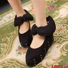 Casual Cute Women Comfy Shoes Studs Point Toe Platform Blacks Reds Bowknot 1m3