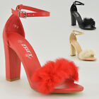 WOMENS ANKLE STRAP LADIES FUR STRAPPY BLOCK HEEL SYNTHETIC FUR EVENING SHOES 3-8