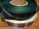 5 metres of Polyester Tartan Ribbon. 7mm, 10mm, 16mm, 40mm.  Various patterns