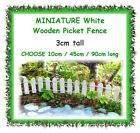 3cm tall miniature white wood picket fence - 3 LENGTHS - fairy garden terrarium