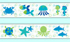 Внешний вид - Sea Life Wallpaper Border Wall Art Decals Boy Ocean Animals Stickers Room Decor