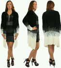 Women Faux Fur Cardigan Outerwear Knit Sweater Jumper Loose Jacket UK8 /14 Cream