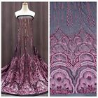 New evening dress rose gold sequins on Black netting embroidered fabric by yard