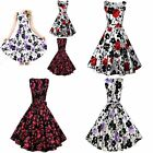 1950s Audrey Hepburn Rockabilly Swing Pleated Floral Pinup Cocktail Prom Dress