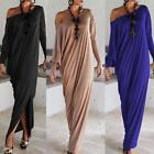 Womens Oblique Off-Shoulder Long Sleeve Maxi Dresses Loose Party Long Dress Tall