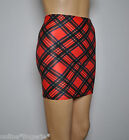 Mini Skirt Red Black TARTAN Check Lycra Stretch Party Club Womens 4-6 Punk H3