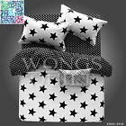 Stars Double Queen Bed Quilt/Doona Cover /Flat Sheet Set New Cotton Duvet Covers