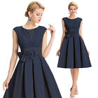 Blue Vintage Sleeveless Ball Gown Bridesmaid Evening Prom Party Dress For Winter