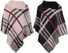 Womens Ladies Check Knitted Tartan Poncho Shawl Top Cardigan Cape Winter Jacket