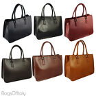 Giglio Ladies Italian Leather Double Compartment Cowhide Briefcase Made In Italy