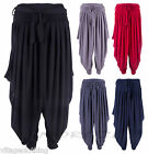 Womens Double Layered Harem Trouser Pants Casual Hippie Flared Bottoms One Size