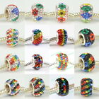 Multicolor Crystal 925 Sterling Silver Core European DIY Charm Bead 11mmx7mm