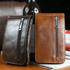 New Business Men's Leather Vertical Waist Bag Belt Wallet Zip Pocket Purse Brown