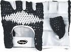 WEIGHT LIFTING GLOVES,WORKOUT,WHITE GOAT LEATHER PALM COTTON KNITTED BACK B&W