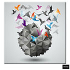 Abstract Birds Geometric Colourful BOX FRAMED CANVAS ART Picture HDR 280gsm