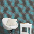 Feather Wallpaper -Coloroll - Silver Glitter - Brown & Teal - Luxury Crown M0961